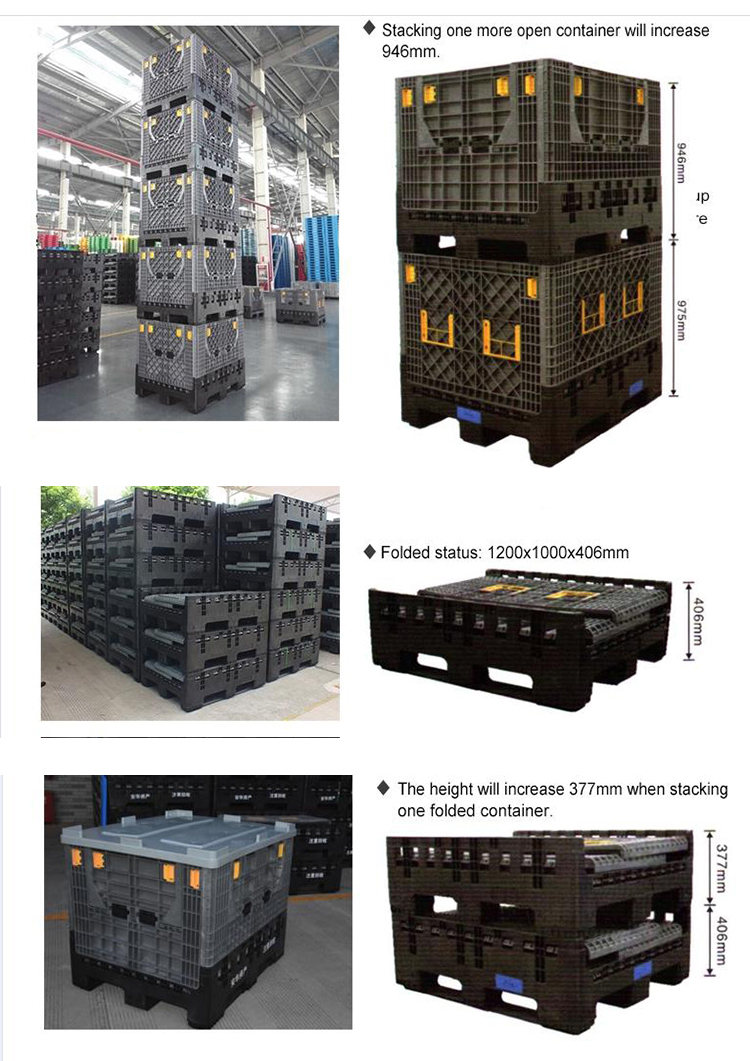 Bulk collapsible containers stacks