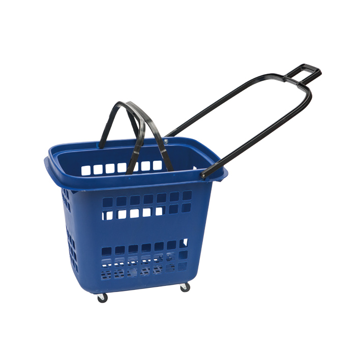 Hot Sale Plastic Rolling Shopping Baskets with Handles