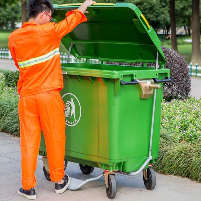 Wholesale Lidded 660 Liter Plastic Garbage Waste Bin