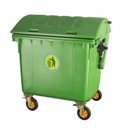 1100L HDPE Plastic Dustbin with Wheels Outdoor