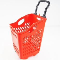Pull Rod Pulley Portable Shopping Basket